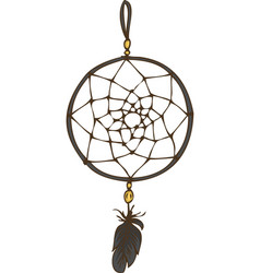 dream catcher with black feather vector image
