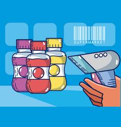 drink bottles supermarket products vector image