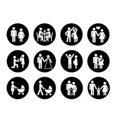 Family icons set in black and white vector