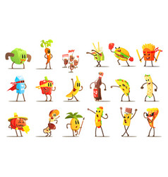 Fast food and healthy food cartoon characters set vector