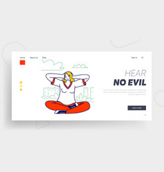 Female refuse to listen landing page template vector