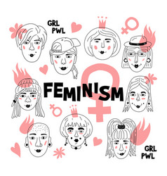 feminism poster womens faces informal girls vector image