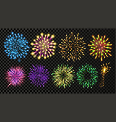 fireworks set festive carnival night sky vector image
