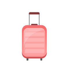 flat icon of pink plastic suitcase on vector image