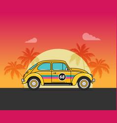 flat old car on beach vector image