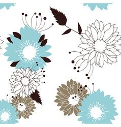 Flowers seamless retro pattern vector image