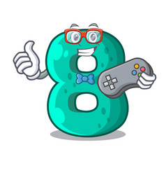 Gamer number eight made with cartoon shaped vector