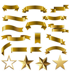 golden ribbons and stars set white background vector image