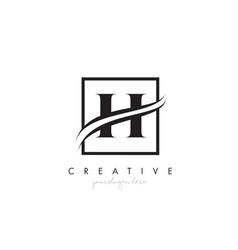 h letter logo design with square swoosh border vector image