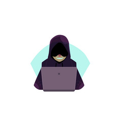 Hacker in hoody using laptop for computer attack vector