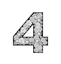 Hand drawn floral alphabet design Digit 4 vector image
