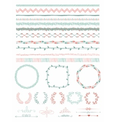 Hand-Drawn Seamless Borders and Design Elements vector image