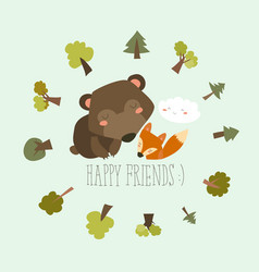Happy friends in the forest bearfox vector