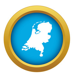 holland map icon blue isolated vector image