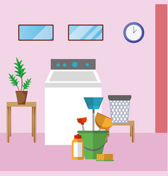 house cleaning laundry room vector image