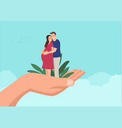 Husband embracing his pregnant wife on giant hand vector