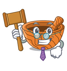 Judge wooden kitchen mortar isolated on mascot vector
