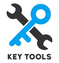 Key Tools Flat Icon with Caption vector