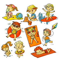 kids summer vacation children beach activities vector image
