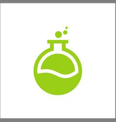 laboratory logo green colorpotion bottle icon vector image