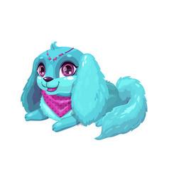 little cute cartoon blue fluffy puppy vector image