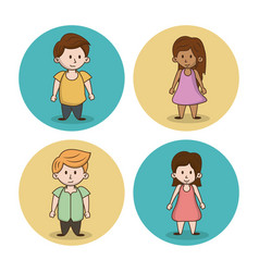 little kids cartoon icons vector image
