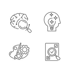 Logical mind pixel perfect linear icons set vector