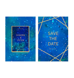 Luxury wedding invitation cards with gold blue vector
