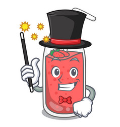Magician strawberry smoothie mascot cartoon vector