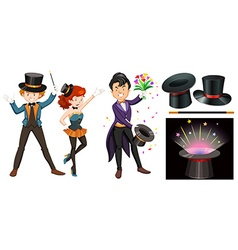 Magicians with magic wand and hat vector
