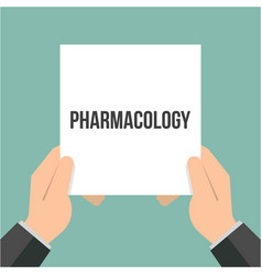 man showing paper pharmacology text vector image