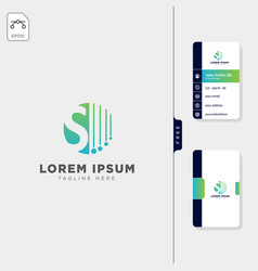 minimal s logo template free business card design vector image