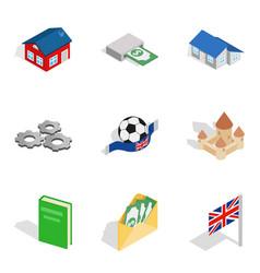 Money requirement icons set isometric style vector