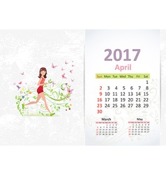Nice young woman running fun Calendar for 2017 vector