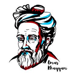 Omar khayyam portrait vector
