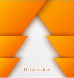 Orange abstract christmas tree paper applique vector