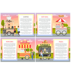 pizza popcorn coffee and hot dog shops collection vector image
