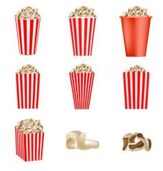 Popcorn cinema box mockup set realistic style vector