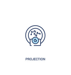Projection concept 2 colored icon simple line vector