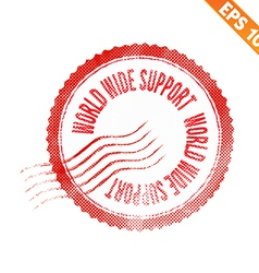 Rubber stamp world wide support - - EPS10 vector image