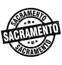 Sacramento black round grunge stamp vector
