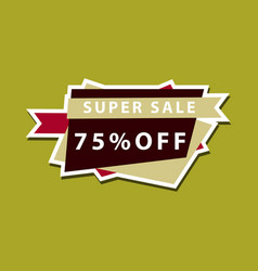 sale banner template design 75 percent discount vector image