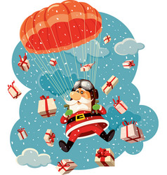 Santa claus flying with parachute and gifts vector
