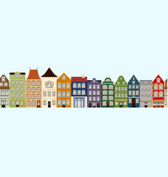 Seamless border of cute retro houses exterior vector