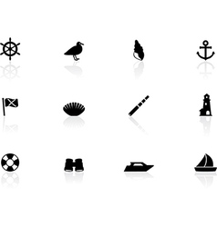 Seaside icons vector