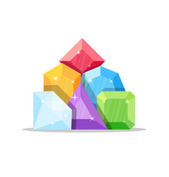 set diamonds in various shapes vector image
