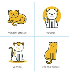 set of icons and in trendy linear style vector image