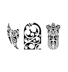 Set of polynesian tattoo vector