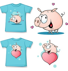 Shirt with cute pig cartoon vector