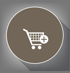 shopping cart with add mark sign white vector image